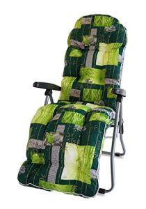 TECNOWEB Rechange Coussin Rond pour Chaise Longue avec Repose-Pieds Super rembourrée col. Fond Vert Fleurs Blanches