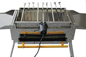 Tourne-brochettes automatique en acier inoxydable avec9piques à brochettes – Accessoires pour barbecue Mangal