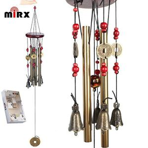 Vent Chimes Bronze Métal Vent Charms 4 Tubes 5 Bells Carillons 60cm long approx, Carrousels de vent pure à la main pour Garden Home Outdoor Garden Ornaments