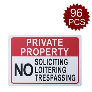 aspire Panneau de propriété privée No Soliciting No Loitering No Trespass pour Usage intérieur et extérieur, Private Property/96pcs, 10″ W x 14″ L