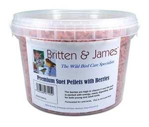 Britten & James Premium Suet Pellets avec des Baies. Un Formidable complément énergétique pour Les Oiseaux Sauvages dans Une cuve refermable de 3 litres. Les Baies sont Riches en Vitamine C