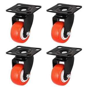 Dealmux 5,1cm Roller en métal plaque supérieure pivotante Caster Roues Noir Orange 4pcs