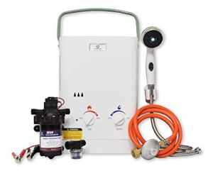 Eccotemp CEL5 Douche Chauffe-Eau Portable 1.5 GPM, EccoFlo Diaphragme 12V Pompe Et Crépine (50 Mbar)