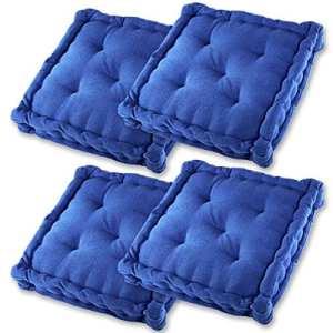 Gräfenstayn® Set de 4 Coussins d'Assise Coussins de Chaise 40x40x9cm pour intérieur et extérieur – 100% Coton – Différents Coloris – Rembourrage épais (Bleu)