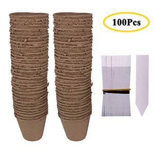 Huvai Lot de 1008cm Round biodégradable Fibre semis Pots avec 100pcs Plastique Blanc étiquettes pour Plantes