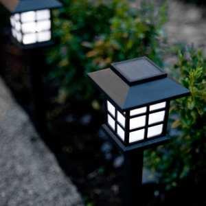 Lights4fun Lot de 9 Lanternes Balises Solaires à Piquet avec LED Blanche pour Jardin