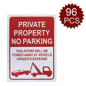Panneau en Aluminium de qualité supérieure avec Inscription « Private Property », « Violators Will be Towed Away at Vehicle Owners » pour Entreprise, No Parking/96pcs, 10″ W x 14″ L