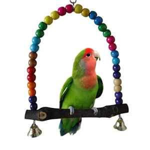 SDGDFXCHN Wood Swing Parrot Cage Toys Jouet pour Oiseau Finch Perruche calopsitte élégante inséparables Rainbow Bridge