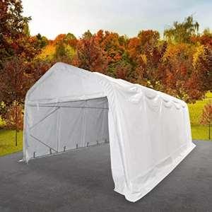 Tente de rangement en tissu (500 g/m²) et acier galvanisé PVC 5 x 10 x 2,82m(L x l x H) Blanc