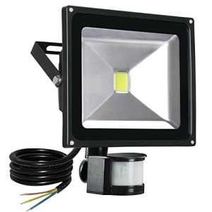 T-SUN Projecteur LED détecteur de mouvement, 50W 4500LM eclairage exterieur led avec detecteur IP65 Eclairage de sécurité idéal pour éclairage public, garage, couloir, jardin, etc (50W)