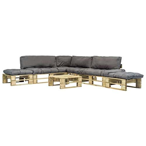 vidaxl canap palette 6 pcs et coussins gris bois fsc. Black Bedroom Furniture Sets. Home Design Ideas