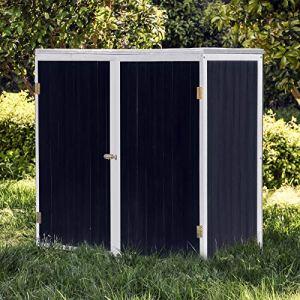 WilTec Armoire de Jardin en Bois Anthracite Blanc 2 Portes 136x58x127cm Armoire à Outils