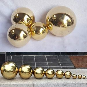 Yunhigh en Acier Inoxydable, Boule à facettes Boule sphère décorative en métal doré Boule de Table Maison Ornement de Jardin Cadeau de Noël, 10cm