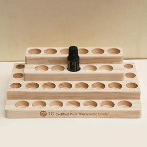 ZABB Desktop Storage Rack 30-Hole Stepped 4-Layer Wooden Shelf Storage Rack Essential Oil Storage Box.