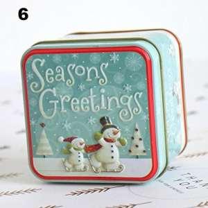 Benhai 1PC de Noël Boîte de rangement de dessin animé Bonhomme de neige Décorations Dessin animé Boîte de rangement Boîte métallique Mode Festival