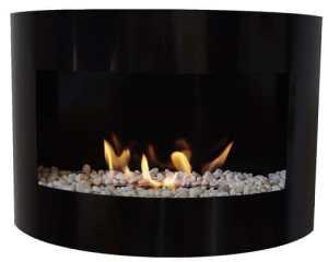 Cheminée à bio éthanol Riviera Deluxe cheminée murale + brûleur 1 litre + pierres décoratives (Noir)