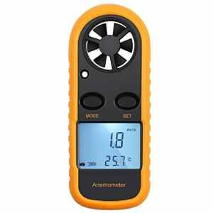 KanCai Numérique Anémomètre LCD Vitesse du Vent Compteur Téléphone Mobile Airflow Vitesse Mesure Thermomètre Dispositif pour Surf / Cerf-Volant / Vol / Voile / Surf / Pêche (Batterie Incluse)