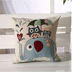 LK.8871 1PCS Housse de Coussin taie d'oreiller en Coton et Lin Doux et Romantique (sans Oreiller) Chouette d'éléphant