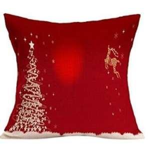LK.8871 1PCS Housse de Coussin taie d'oreiller en Coton et Lin Doux et Romantique (sans Oreiller) Noël