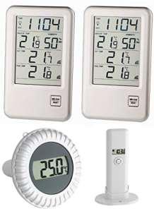 Piscine thermomètre Malibu MEGA TFA 30.3053.MEGA incl. 2 Display (Argent)