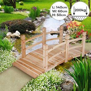 Pont de jardin | 140x60x53cm, pont d'étang Passerelle en bois | Décoration Extérieure Pont d'étang Pond de Bassin