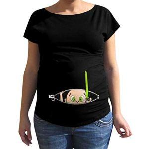 Rovinci_Femme Mama T Shirt Top Blouse Col Rond Vêtements de Maternité Enceinte Grossesse Été Manches Courte Imprimées