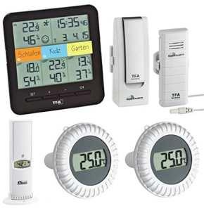 TFA Dostmann Thermomètre/hygromètre sans fil Station avec émetteur de natation de piscine spécial climat @ Home TFA 30.3060.01. IT. Spécial piscine