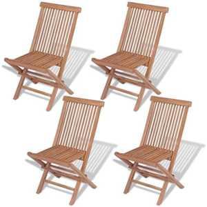 vidaXL Teck Massif 4X Chaise Pliante d'Extérieur Ensemble Chaise de Jardin