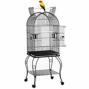 WXH Cage à Oiseaux en Forme de dôme à Dessus Ouvert avec Support détachable Aire de Jeux pour Oiseaux sur roulettes