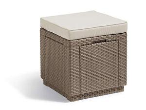 ALLIBERT Tabouret, Cube Cushion, Cappuccino/Sable, 42x 42x 45cm, 233817