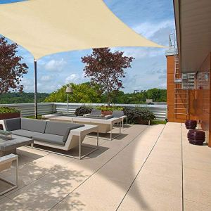 Ankuka Voile d'ombrage carré 3×3, Auvent Imperméable UV Protection pour Jardin Terrasse Extérieur Patio Piscine, avec Corde Libre (Champagne)