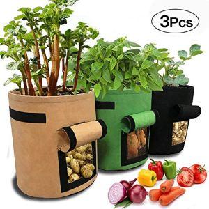 APERIL Sac de Culture pour Pommes de Terre, 3 x Gallons, Sacs de Plantation de légumes, Sac de Plantation en Tissu Respirant et Durable avec Rabat d'accès et Poignées en Nylon Robuste