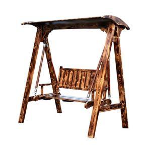 Balançoire Chaise de balançoire Chaise de Jardin balançoire balançoire en Bois Balcon Double Chaise à Bascule extérieure Chaise de Loisirs (Color : Brown, Size : 175 * 108 * 160cm)