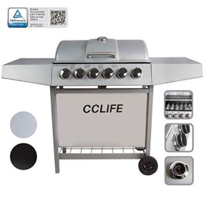 CCLIFE Brûleur gaz Barbecue à gaz BBQ Barbecue Toronto Barbecue Barbecue grill Set testé TÜV Neuf 6 Brenner Silber