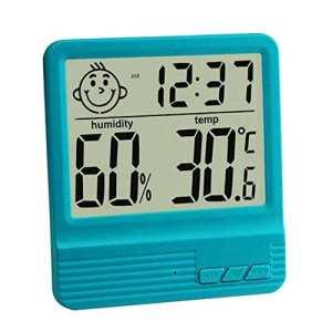 GuDoQi Thermomètre Numérique Électronique Thermomètre De Bureau À L'Intérieur Chambre De Bébé Hygromètre Électronique Avec Fonction De Réveil Bleu
