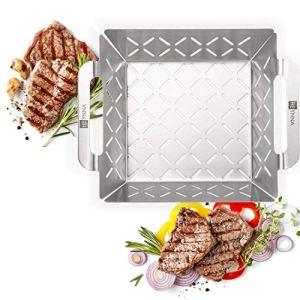 HEYNNA Premium panier à barbecue en acier inoxydable – pour légumes, viande & poisson- barbecue four