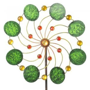 IMC Networks CIM Exotic Flower Samoa – Moulin à Vent de Jardin en métal à roulement à Billes Résistant aux intempéries avec Tige de Support 3 pièces Ø 34 cm Hauteur Totale : 122 cm