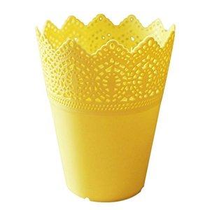 Leisial Pot de fleurs ou contenant de rangement – blanc, jaune, Taille M