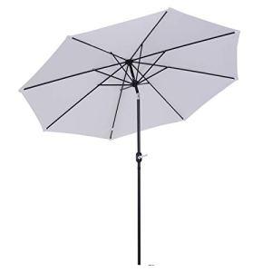 Outsunny Parasol en Aluminium Rond Polyester 180g/m2 manivelle inclinable diametre 300cm Blanc