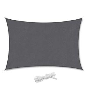Sekey Voile d'ombrage Rectangulaire Imperméable Une Protection des Rayons UV, Résistant et Respirant pour Jardin Terrasse Camping Fête Piscine, avec Corde Libre 2×3m Anthracite