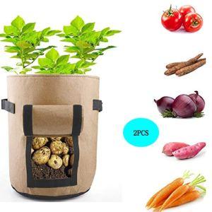 sokey 2 Pcs Sac à Plantes Sac de Culture Plantation Jardinière pour Pommes de Terre/Patates Douces/Tomates/Carottes/Fraises 30x35cm Brun