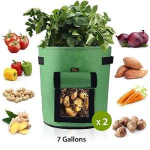 Ulikey 2Pcs Sacs de Culture pour Pommes de Terre, Sac de Legumes, Tissu Non-tissé Sac de Plantation de Pommes de Terre à Fenêtre (2pcs Vert, 7 Gallons)