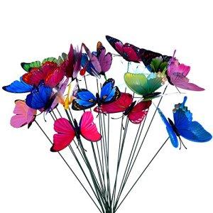 24 Pièces Papillons de Jardin Coloré libellules de Jardin sur Bâtons pour Décoration de Plante, Cour de Jardin, Décoration de Jardin