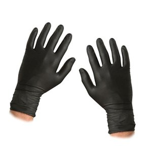 ASC BG Noir Nitrile Gants jetables – Moyen – Poudre et sans latex – 100 gants (50 pairs )