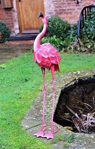 Flamant rose en métal de 100cm – Décoration pour jardin, étang – Rose