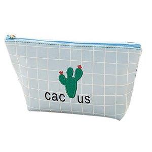 Leey sac de rangement pour femmes sac de cosmétiques sac à main mode mignon cactus imprimer fermeture éclair petit sac carré