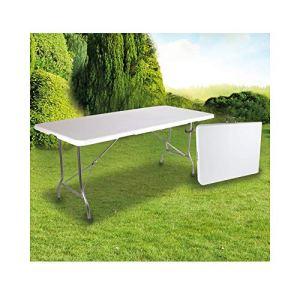 OSE Grande Table de Jardin Pliante Blanche 8 pers 180 cm