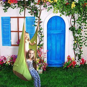 SK-YBB Children Hamac Gonflable Portable en Coton pour intérieur et extérieur Vert