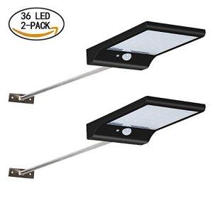 [2 PACK 36 LED] Lampe Solaire Extérieur Luminaire à 450 LM Ultra Puissante,Eclairage Solaire Etanche (IP65) 120 ° de Large Sans Fil à 4 Modes avec Détecteur de Mouvement pour Jardin,Mur Extérieur