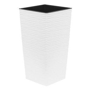 Haut 75 cm pot de fleur en plastique Finezja sculpté, en blanc